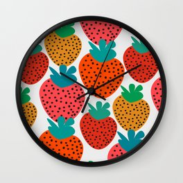 Funny strawberries Wall Clock