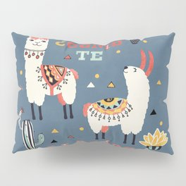 Como te Llamas. Funny Spanish Word Humor. Potted Cacti and two Llamas Pillow Sham