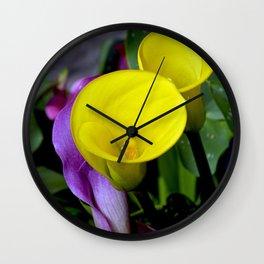 Two yellow callalilies Wall Clock