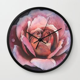 Bold Pink Rose Flower At Midnight With Love Wall Clock