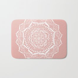 White Flower Mandala on Rose Gold Bath Mat