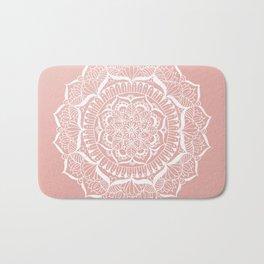 White Flower Mandala on Rose Gold Bath Mat