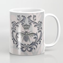 Pink and Gray Vintage Damask French Bee Coffee Mug