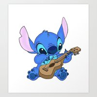 stitch Art Prints featuring Stitch by Christa Morgan ☽
