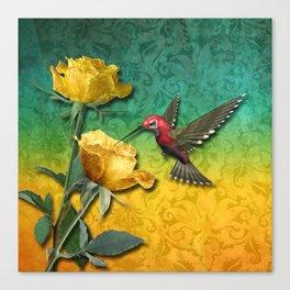 Hummingbird Gold Roses & Damask Canvas Print