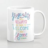 hogwarts Mugs featuring Hogwarts by IndigoEleven