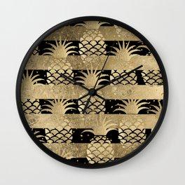 Trendy elegant black faux gold pineapple stripes Wall Clock