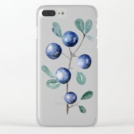 Blackthorn Blue Berries Clear iPhone Case