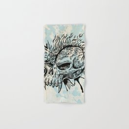 skull hand draw with flame Hand & Bath Towel