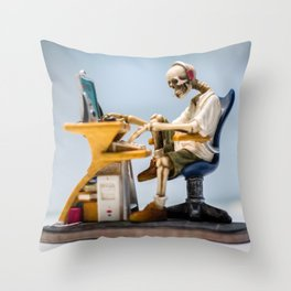 Dead at the Screen (Skeleton) Throw Pillow