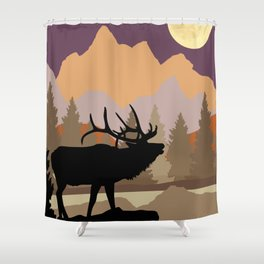 Mountain Caribou Scene Shower Curtain