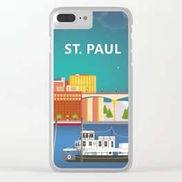 St. Paul, Minnesota - Skyline Illustration by Loose Petals Clear iPhone Case