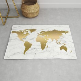 Metallic Gold World Map On Marble Rug