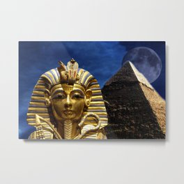 King Tut and Pyramid Metal Print