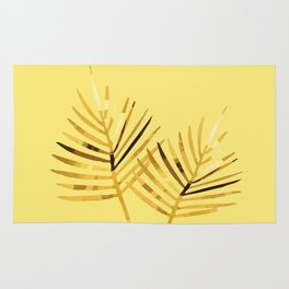 two Palm Leaves with yellow background Rug