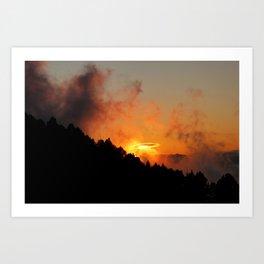 Stormy Dramatic Sunset Mountain Landscape Art Print
