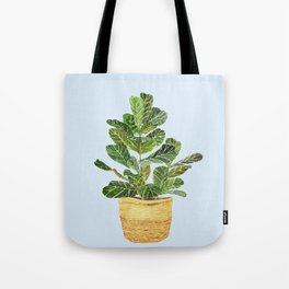 Fiddle Leaf Fig in a Basket- Ficus Lyrata Tote Bag