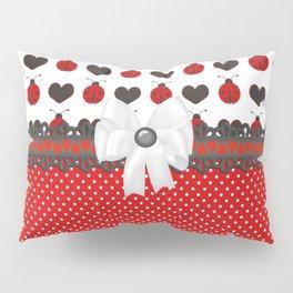 Ladybug and Hearts Pillow Sham