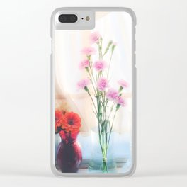 pink flower and orange flower in the vase with curtain background Clear iPhone Case