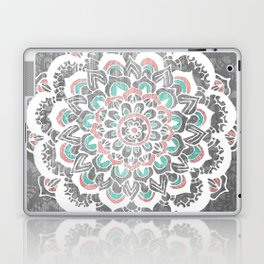 Pastel Floral Medallion on Faded Silver Wood Laptop & iPad Skin