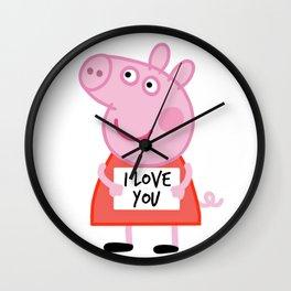 Peppa pig  i love u Wall Clock