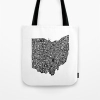 ohio Tote Bags featuring Typographic Ohio by CAPow!