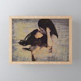 Women Kissing Framed Mini Art Print