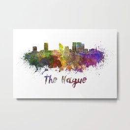 The hague skyline in watercolor Metal Print