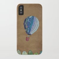 hot air balloon iPhone & iPod Cases featuring Blue hot air balloon by Sof Andrade