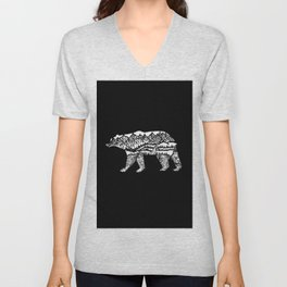 Bear Necessities in Black Unisex V-Neck