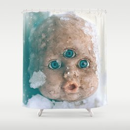 Good Morning - Creepy Three Eyed Grime Doll In The Cold Snow Shower Curtain