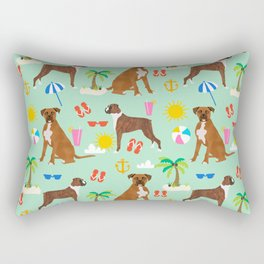 Boxer dog summer beach tropical palm tree vacation boxers pet gifts Rectangular Pillow