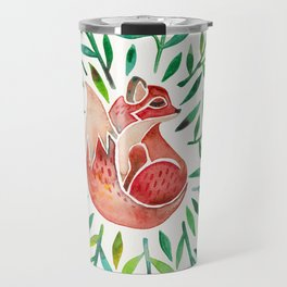 Woodland Fox – Green Leaves Travel Mug