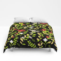 Abstract flowers with black background Comforters