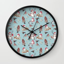 Teal gnome pattern - Christmas Wall Clock