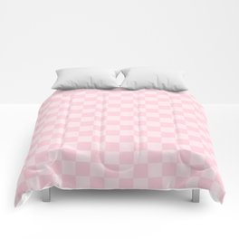 Large Soft Pastel Pink Checkerboard Chess Squares Comforters