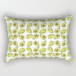 Watercolor Painting Green Avocado Pattern Rectangular Pillow