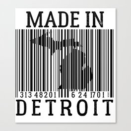 MADE IN DETROIT Bar Code Canvas Print