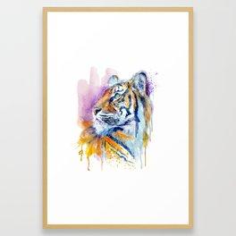 Young Tiger Watercolor Portrait Framed Art Print