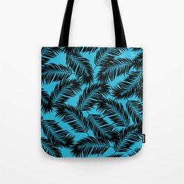 Palm Frond Tropical Décor Leaf Pattern Black on Cyan Vivid Arctic Blue Tote Bag
