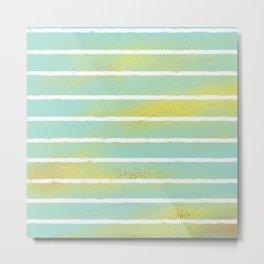 Mint, Gold, & Stripes Metal Print