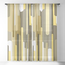 Flowing drops of paint in gold yellow, abstract liquid flow, golden background Sheer Curtain