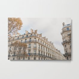 Paris Rooftops in autumn   Paris travel photography   Bright art print Metal Print
