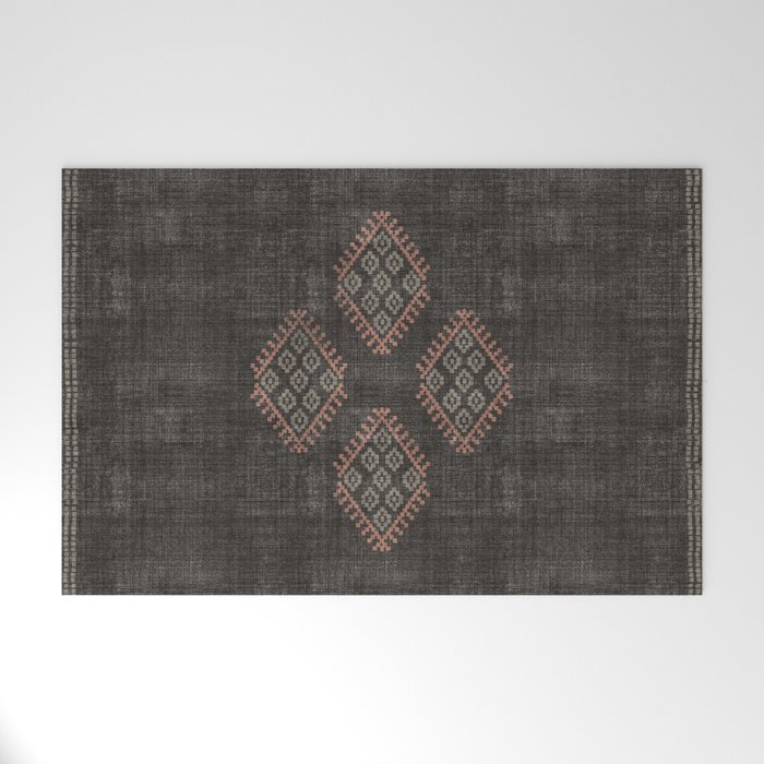 Kilim in Black and Pink Welcome Mat