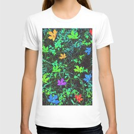 maple leaf in pink blue green orange with green creepers plants T-shirt