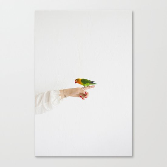 Woman and parrot Canvas Print