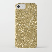 gold glitter iPhone & iPod Cases featuring GLITTER GOLD by isoncaDesign