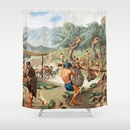 Classical Masterpiece Men Harvesting Olives by Herbert Herget Shower Curtain
