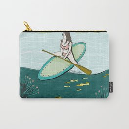 surfing girl beach resort art Carry-All Pouch