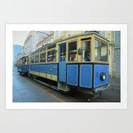 Old blue tram in Zagreb Art Print